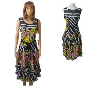 Signature by Robbie Bee Dress Tiered Scarf Skirt 6
